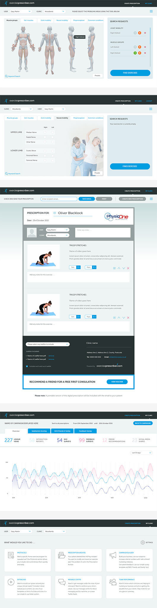 exercise web pages in mock up