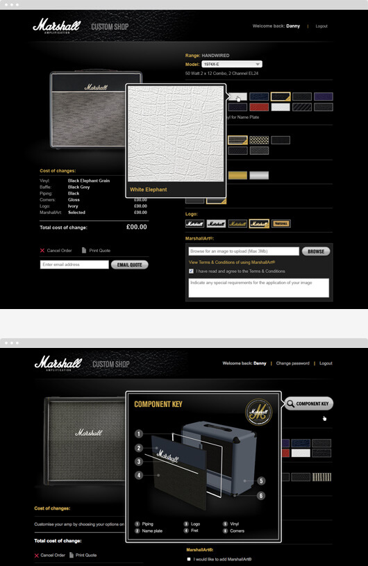 screens from marshall custom shop web app