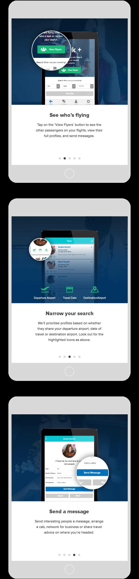 milehi app on tablet