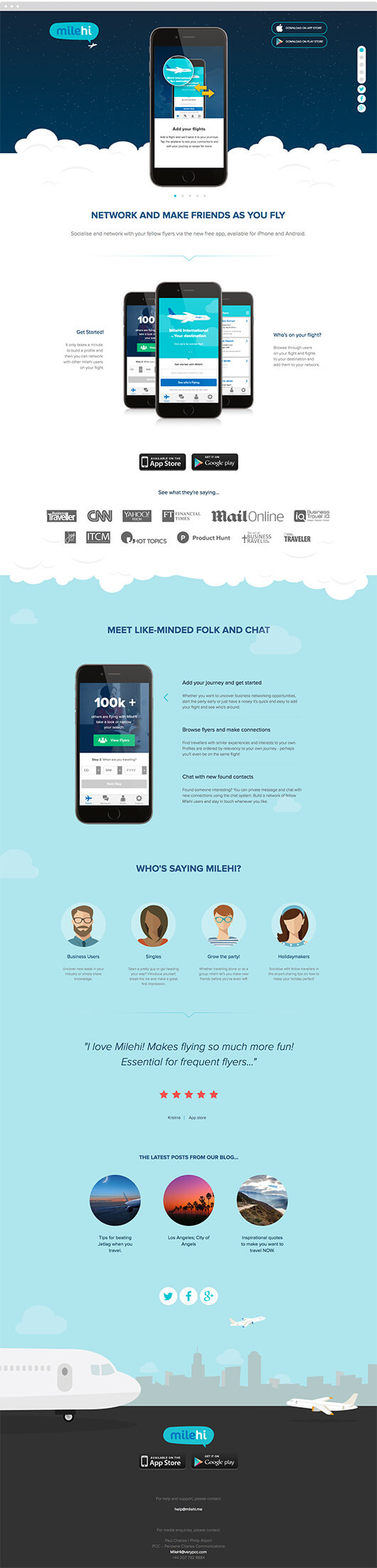 milehi sales website page design