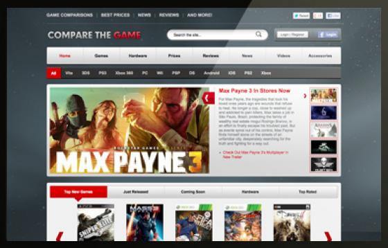 Compare the game website home page design
