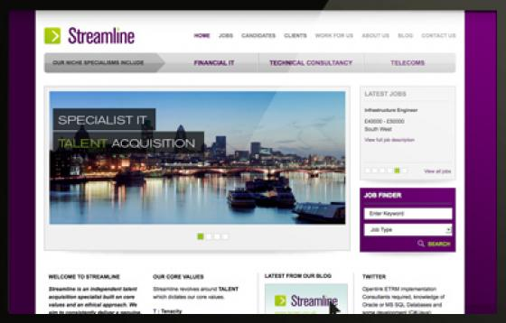 Streamline Recruitment website design home page